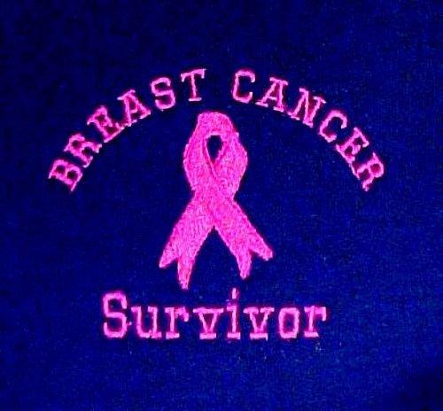 Breast Cancer Survivor Sweatshirt Pink Ribbon Navy Blue Crew Neck Blend 2XL New