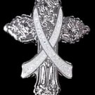 Gray Silver Ribbon Cross Pin Cancer Cause Awareness Religious Church Christian