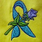 Teal Ribbon Rose T-Shirt M Yellow Embroidered Awareness Tee Cotton Blend New
