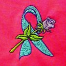 Teal Ribbon Rose T-Shirt S Cancer Awareness Hot Pink Short Sleeve Unisex New