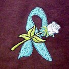 Teal Awareness Ribbon T Shirt M White Rose Brown Short Sleeve Ovarian Cancer New