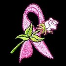 Pink Ribbon Sweatshirt L White Rose Black Crew Neck Breast Cancer Awareness New