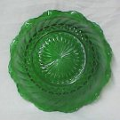 Forest Green Scallop Edge Swirl Glass Berry Nut Candy Serving Bowl Vintage