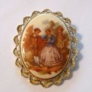 Victorian Couple Courting Scene Cameo Oval Gold Tone Pin Brooch Vintage