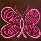Pink Ribbon Butterfly Hoodie M Awareness Hope Faith Courage Brown Sweatshirt New