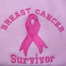 Breast Cancer Survivor Sweatshirt Ribbon Pink Cotton Blend Crew Neck Medium New