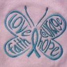 Teal Hope Courage Butterfly Pink Small Crew Neck S/S T Shirt Ovarian Cancer New