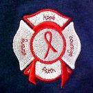 Red Ribbon T Shirt L Awareness Maltese Cross Fire Dept Rescue Navy Blue New