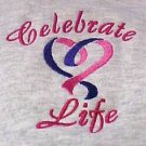 Celebrate Life Hoodie L Heart Embroidery Cancer Awareness Gray Sweatshirt New