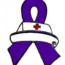 Purple Ribbon Nurse Cap Pin Awareness Pancreatic Cancer Lupus Many Cancer Cause