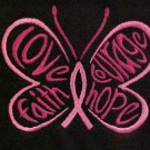 Awareness Butterfly T Shirt M Black S/S Crew Neck Breast Cancer Centered New
