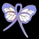 Periwinkle Awareness Ribbon Butterfly Pin Cancer Cause Esophageal Stomach IBS