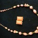 Coral Peach Beaded Necklace Clip On Rectangular Earring Set Gold Plated Vintage