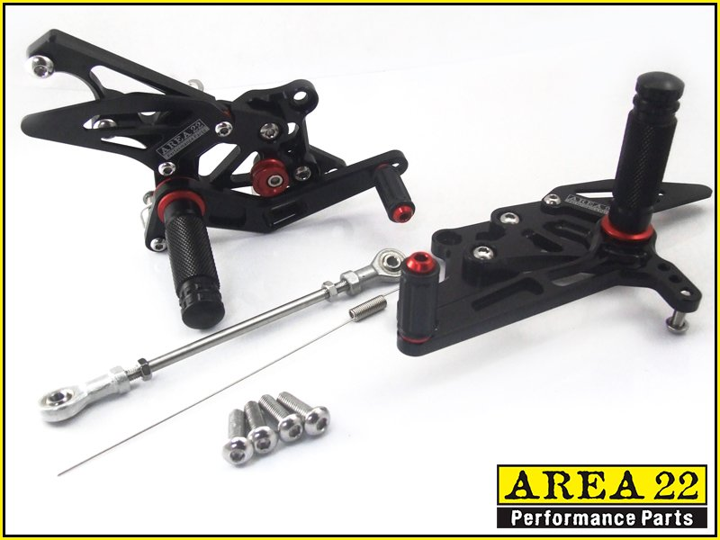2015 Yamaha YZF-R3 Area 22 CNC Adjustable Rear Sets Black Rearset R3 300 R 3