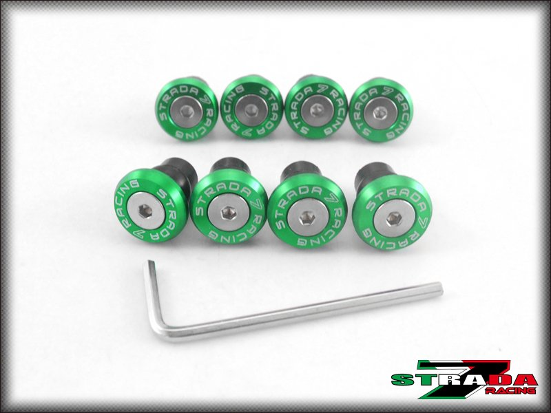 Strada 7 CNC Windscreen Bolts M5 Wellnuts Set Kawasaki ZX6R 636 2007- 2015 Green