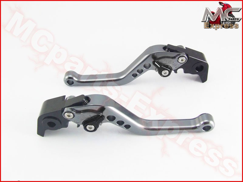 MC Short Adjustable CNC Levers Moto Guzzi V7 Classic 2008 - 2015 Grey
