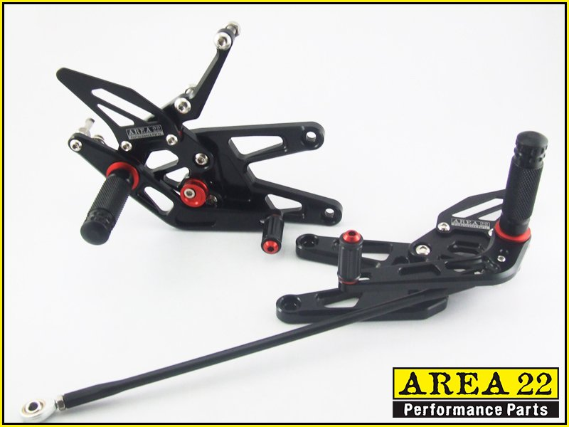 2003-2005 Yamaha YZF-R6 Area 22 CNC Adjustable Rear Sets Black Rearset R6