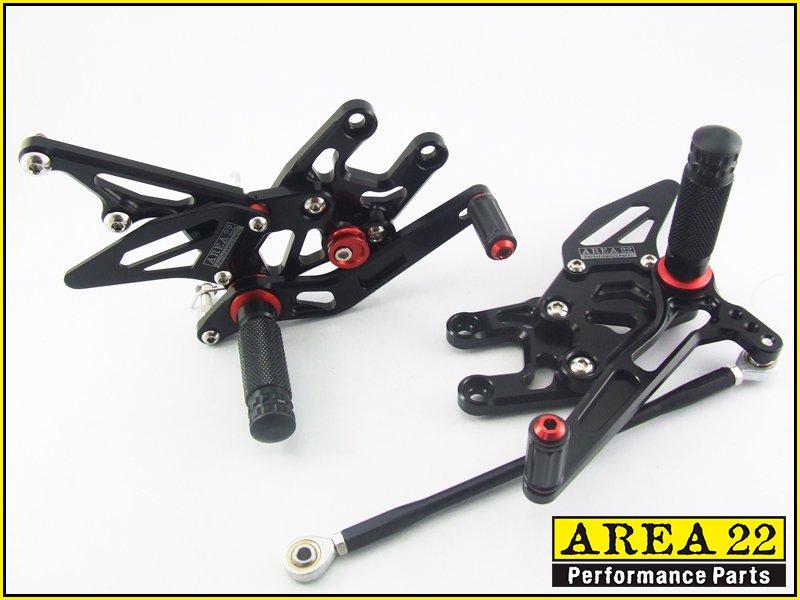 2004-2005 Kawasaki Ninja ZX-10R Area 22 Adjustable Rear Sets Black Rearset ZX10R