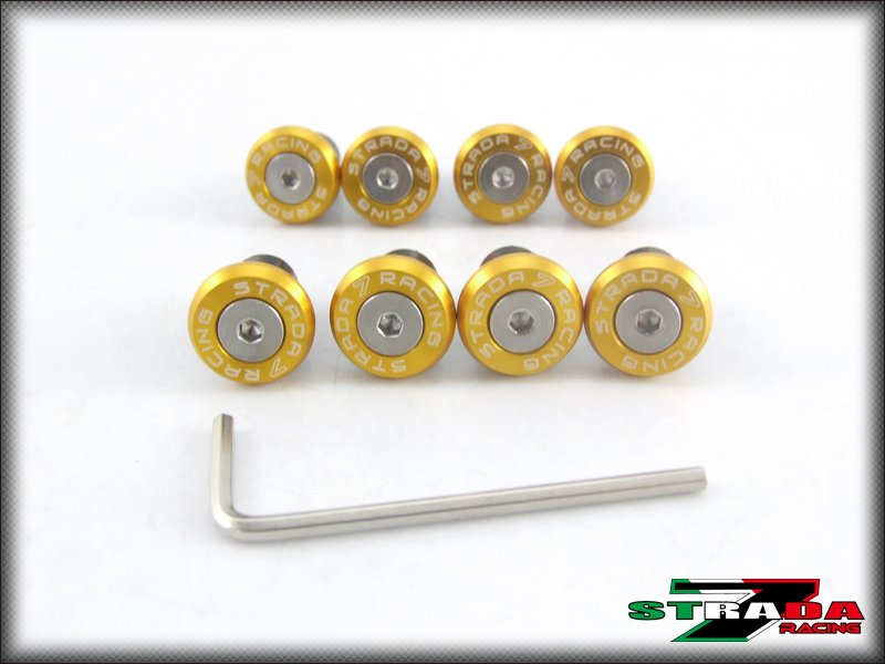 Strada 7 Racing Windscreen Bolts M5 Wellnuts Set Yamaha R6S EUROPE VERSION Gold