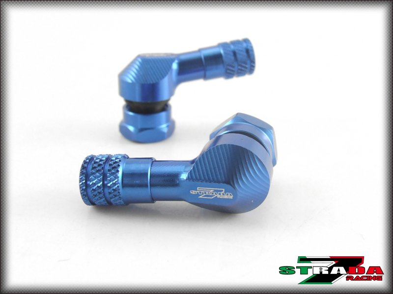 "Strada 7 83 Degree 8.3mm 0.357"" inch CNC Valve Stems for Marvic wheels Blue"