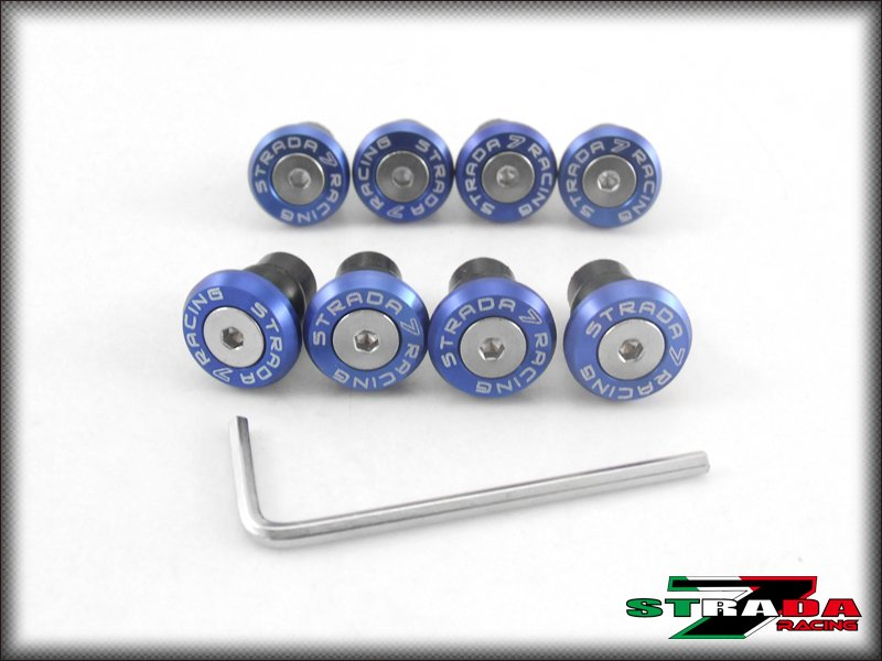 Strada 7 Racing CNC Windscreen Bolts M5 Wellnuts Set Yamaha TDM 900 Blue