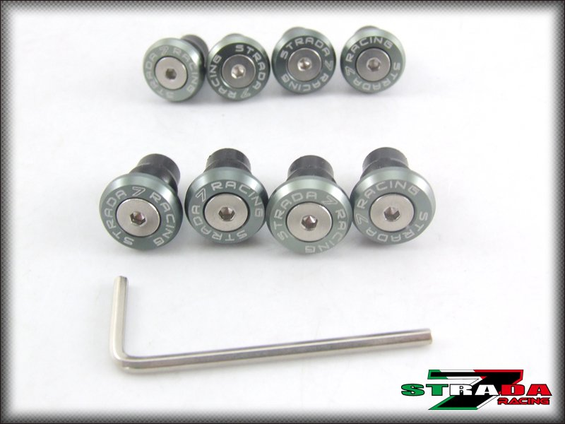 Strada 7 Racing CNC Windscreen Bolts M5 Wellnuts Set Yamaha XJ6 DIVERSION Grey