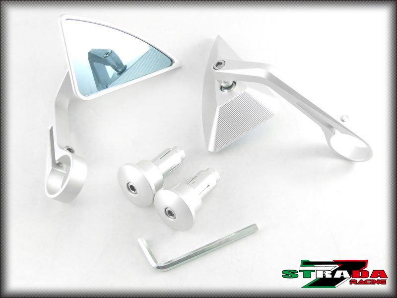 Strada 7 Silver Triangle Handle Bar End Mirrors Honda Black Spirit / NC700 S / X