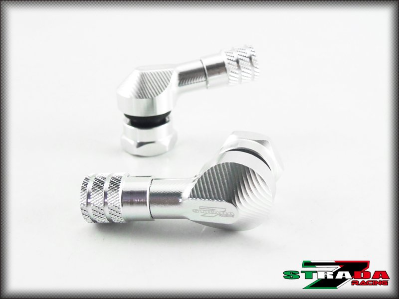 """Strada 7 83 Degree 8.3mm 0.357"""" inch CNC Valve Stems Ducati S2R 1000 Silver"""