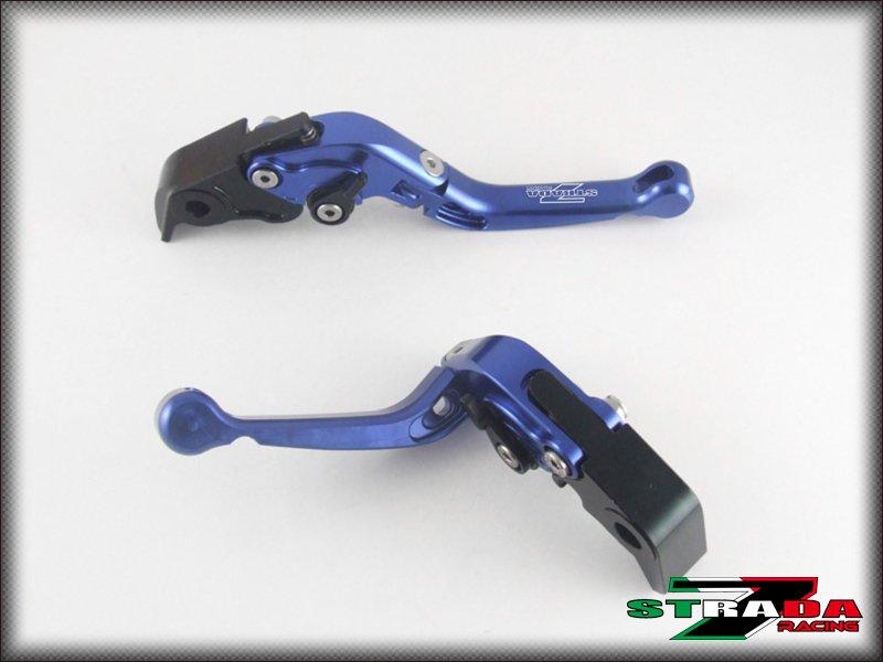 Strada 7 CNC Short Folding Adjustable Levers Suzuki SV1000 / S 2003 - 2007 Blue