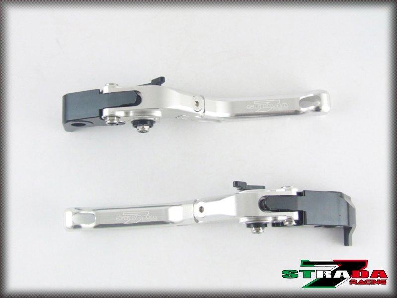 Strada 7 Short Folding Adjustable Levers Triumph THRUXTON 2004 - 2015 Silver