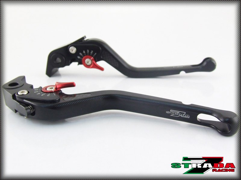 Strada 7 CNC Long Carbon Fiber Levers Moto Guzzi BREVA 750 2004 - 2009 Black