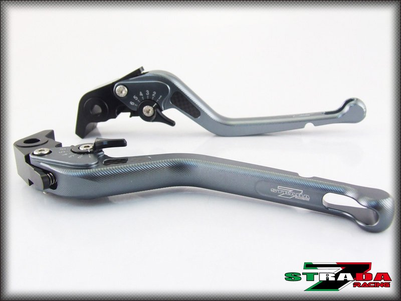 Strada 7 CNC Long Carbon Fiber Levers Suzuki GSXR750 1996 - 2003 Grey