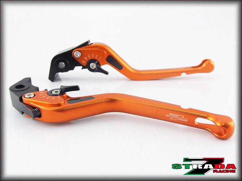 Strada 7 CNC Long Carbon Fiber Levers Kawasaki ZX6R / 636 2007 - 2014 Orange