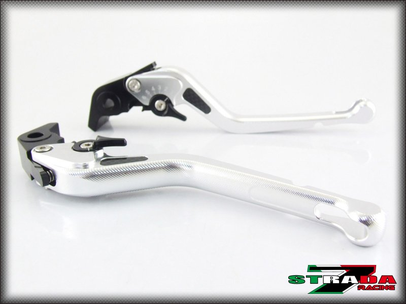 Strada 7 CNC Long Carbon Fiber Levers Kawasaki ZX10R 2006 - 2014 Silver