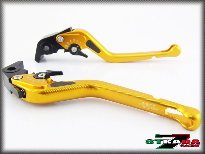 Strada 7 CNC Long Carbon Fiber Levers Kawasaki Z750 2007 - 2012 Gold