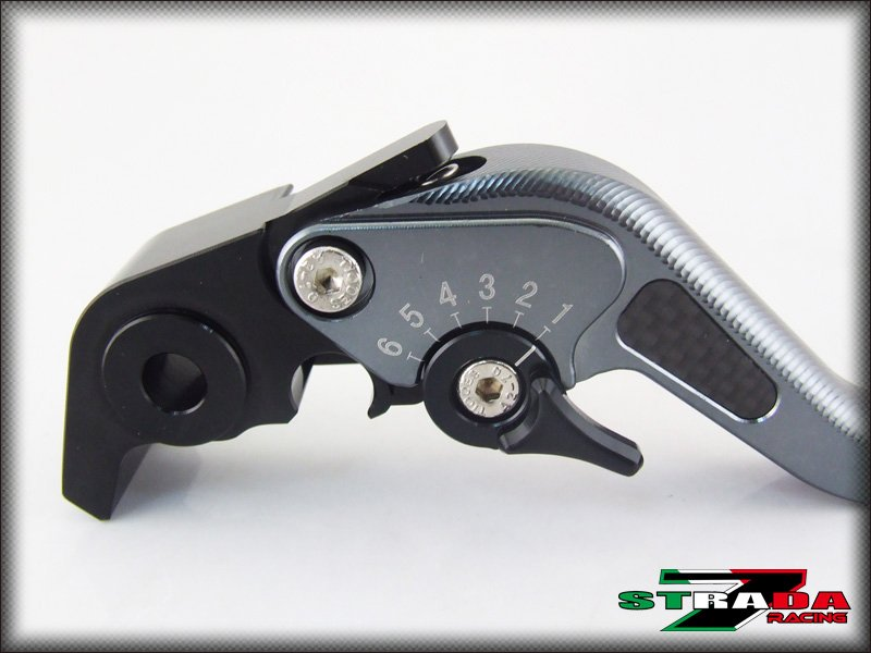 Strada 7 CNC Short Carbon Fiber Levers Kawasaki ZXR400 all years Grey
