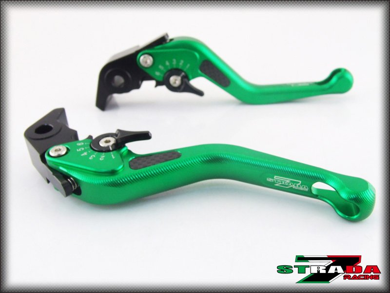 Strada 7 CNC Short Carbon Fiber Levers Kawasaki VERSYS 650cc 2009 - 2014 Green