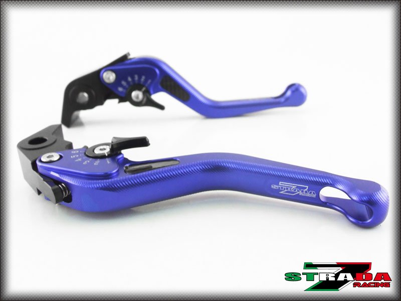 Strada 7 CNC Short Carbon Fiber Levers Kawasaki W800 / SE 2012 - 2014 Blue
