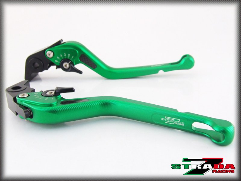 Strada 7 CNC Long Carbon Fiber Levers Honda CBR250R 2011 - 2013 Green