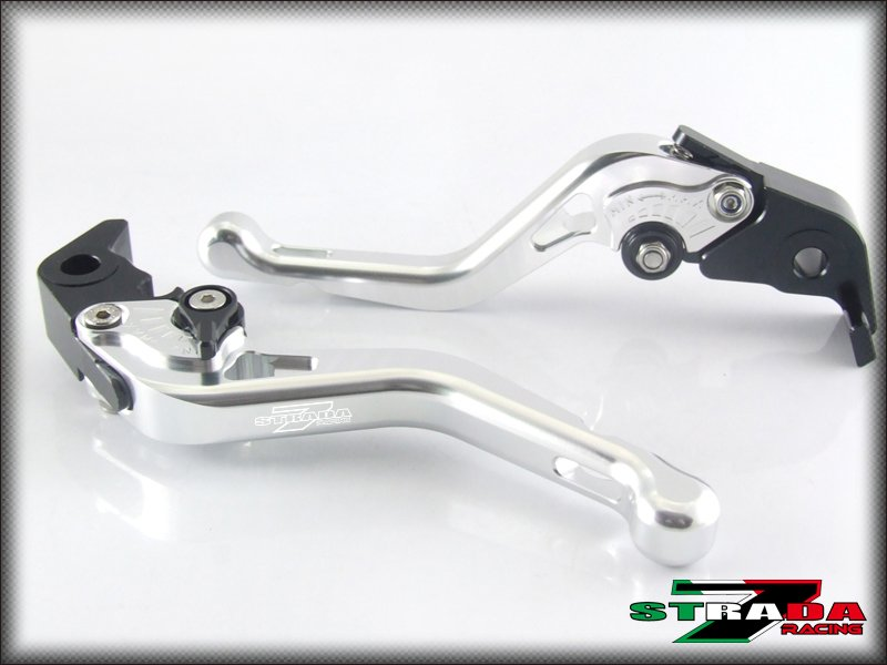 Strada 7 CNC Shorty Adjustable Levers Kawasaki ZX6R / 636 2007 - 2014 Silver