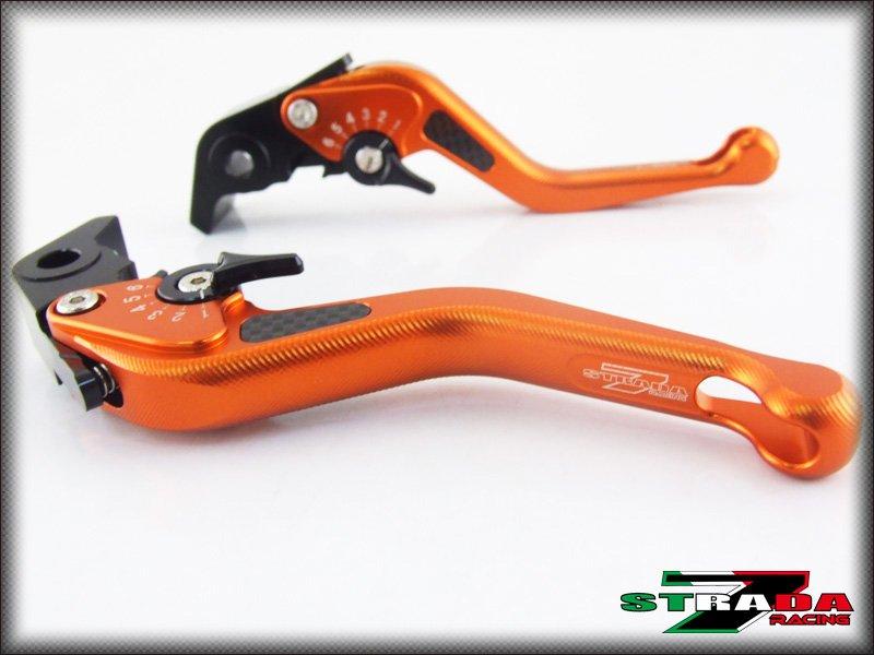 Strada 7 CNC Short Carbon Fiber Levers Kawasaki ZRX1100 1200 1999 - 2007 Orange