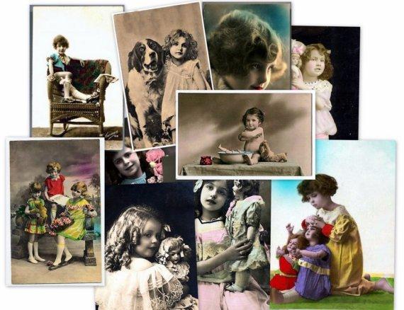 CD 1000 Vintage Victorian CHILDREN PHOTOS kids postcards boys girls potraits