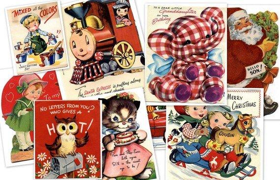 CD 550 Vintage CHILDREN GREETING Cards Images Illustrations Kids