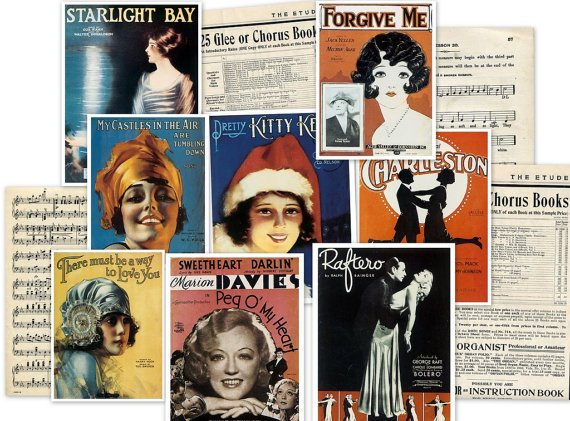 CD 250 Vintage Sheet Music ,  Victorian Music ALBUM COVERS Images Photos
