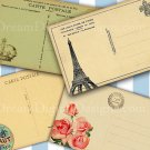 Paris Postcard backs Printable Collage Sheet Tags Scrapbooking Vintage French
