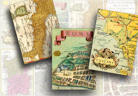 Antique Maps ATC Digital Background Printable Collage Sheet