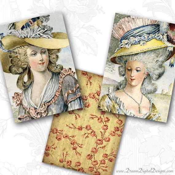 Hat Fashion, Vintage Ladies, Printable Images, Collage Sheet, Digital Background