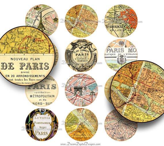 Paris Map 2 inch Circles , Digital Collage Sheet, Vintage French Ephemera