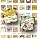 Paris Map 1 x 1 Squares, Digital Collage Sheet, France Maps