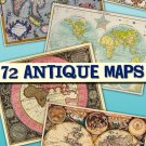 Collection Antique Maps collection old ancient World ephemera card large size